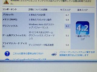 X201のウインドウズエクスペリエンスの画面。中古ノートパソコンにしてはいい数値では?